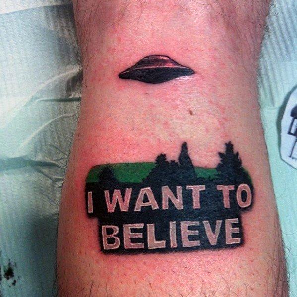 Unique Mens I Want To Believe Tattoos Leg Calf