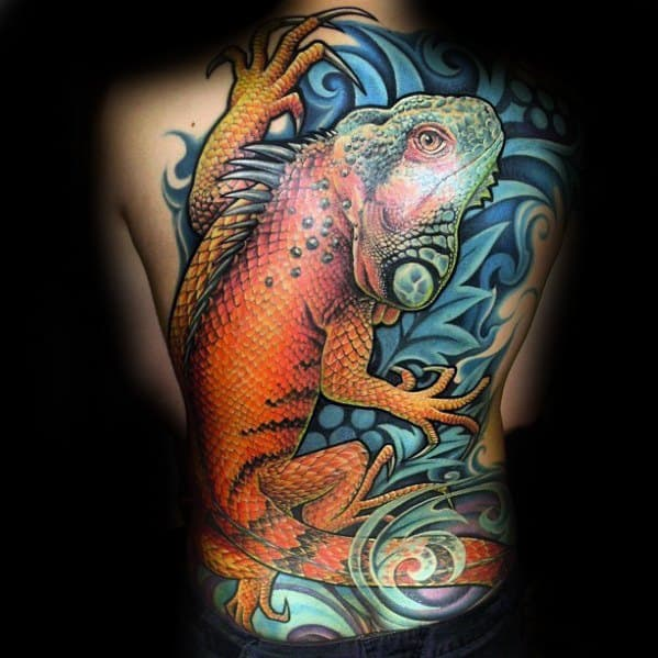 Unique Mens Iguana Tattoos