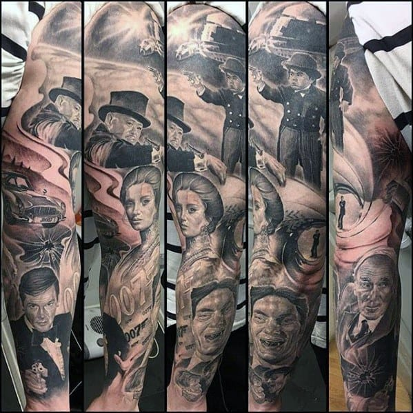 Unique Mens James Bond Themed Full Arm Sleeve Shaded Black And Grey Tattoos