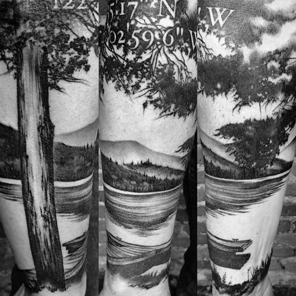 Unique Mens Lake Tattoos