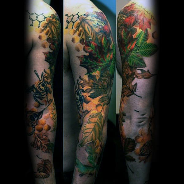 Unique Mens Leaves Fall Full Arm Tattoos