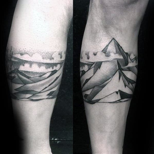 Unique Mens Leg Band Mountain With Clouds Tattoo Designs