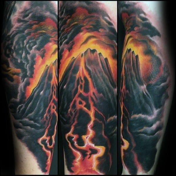 Unique Mens Leg Volcano Tattoos