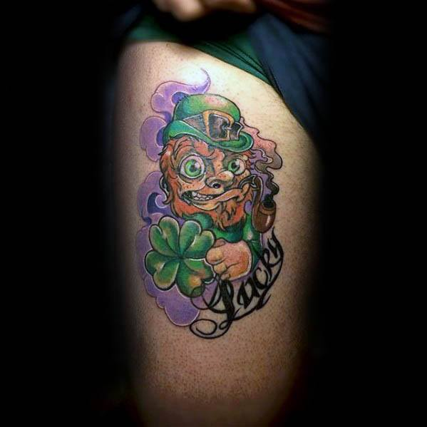 Unique Mens Leprechaun Tattoos On Thigh