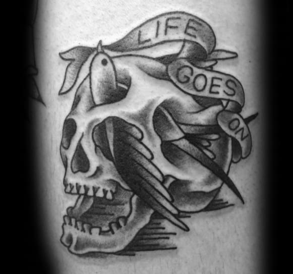Unique Mens Life Goes On Skull Banner Tattoos
