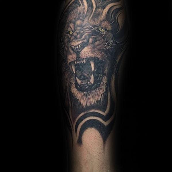 Unique Mens Lion Roaring Tattoo Designs On Leg