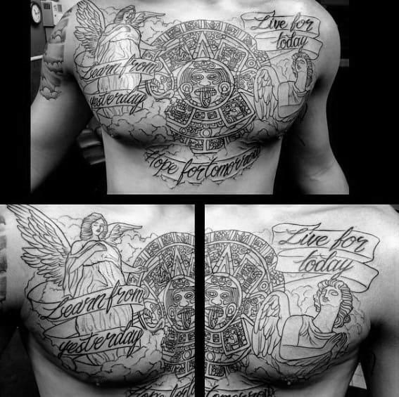 Unique Mens Mayan Calender Tattoos Upper Chest