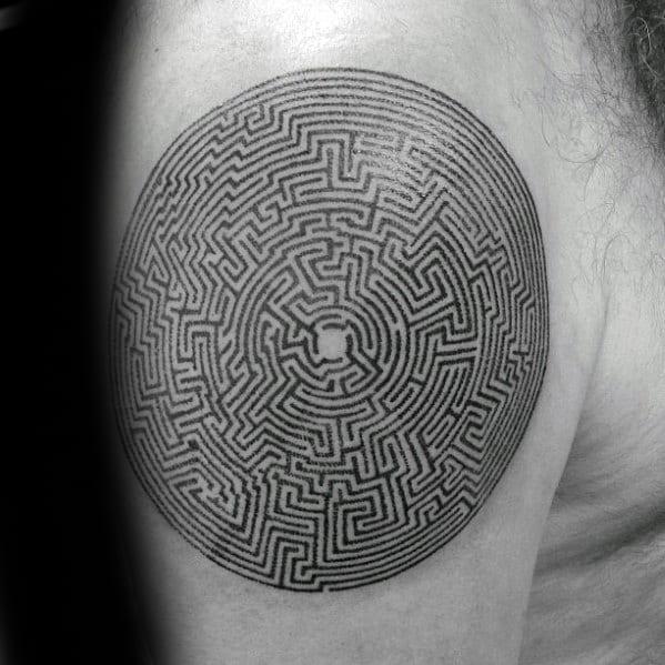 Unique Mens Maze Tattoos On Upper Arm