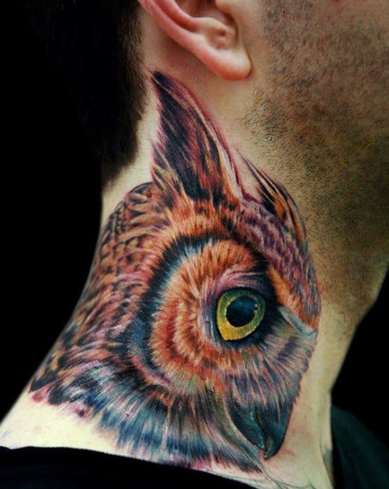 Unique Mens Owl Neck Tattoos