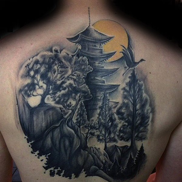 Unique Mens Pagoda Tattoos On Back