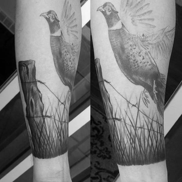 Unique Mens Pheasant Grass Forearm Tattoos