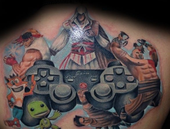 Unique Mens Playstation Tattoos On Back