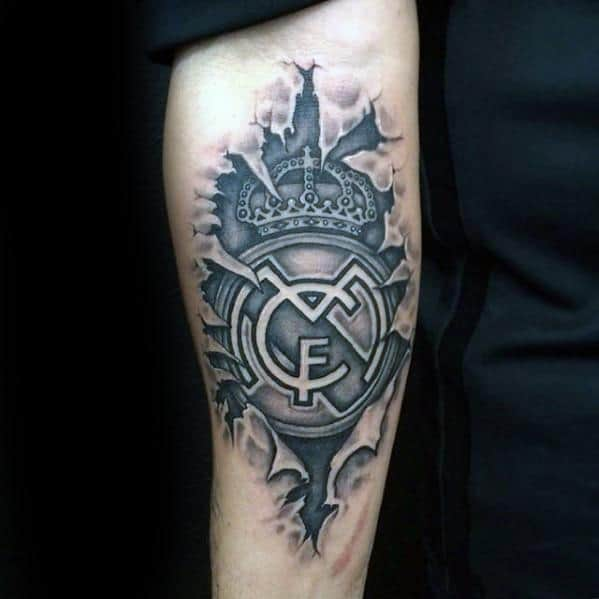 Unique Mens Real Madrid Tattoos On Inner Forearm