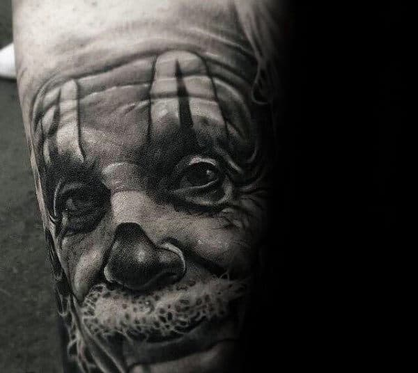 Unique Mens Realistic Clown Portrait Tattoo Design On Arms