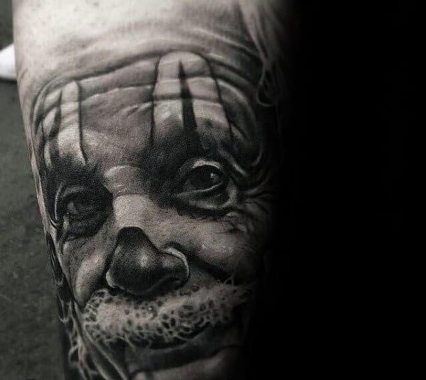 Unique Mens Realistic Clown Portrait Tattoo Design On Arms