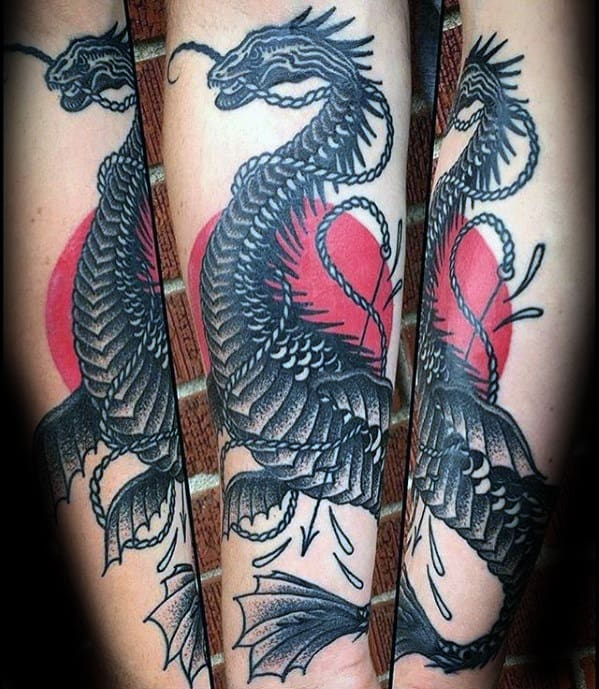 Unique Mens Red Sun Loch Ness Monster Tattoos