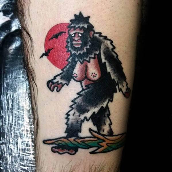 Unique Mens Retro Leg Bigfoot Tattoos