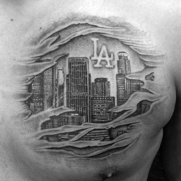 Unique Mens Ripped Skin Chest Los Angeles Skyline Tattoos