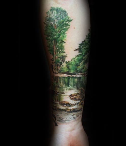 Unique Mens River With Trees Forearm Tattoos