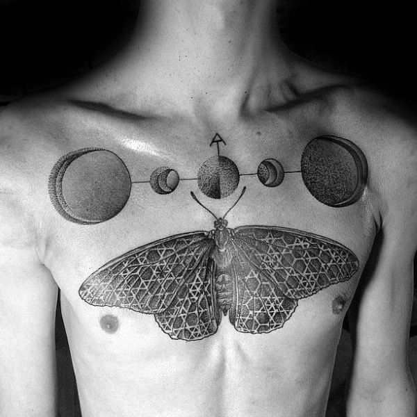 Unique Mens Shaded Ink Moon Phases Tattoos Designs On Chest
