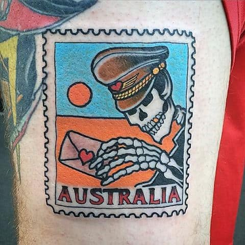 Unique Mens Skeleton Australia Postage Stamp Tattoos On Thigh