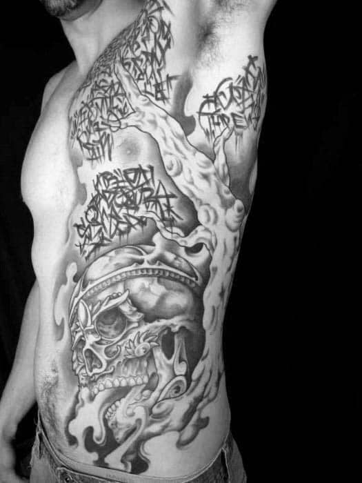 Unique Mens Skull Tree Tattoos On Rib Cage Side Of Body
