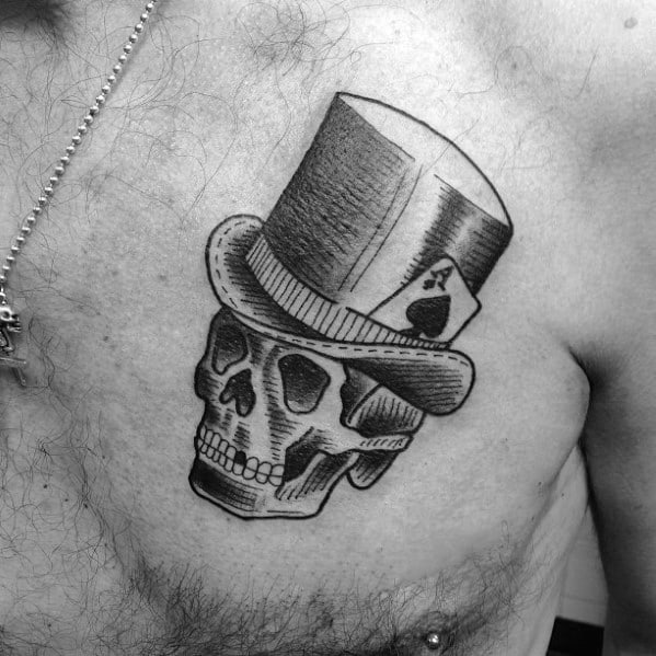 Unique Mens Skull With Top Hat Tattoos On Upper Chest