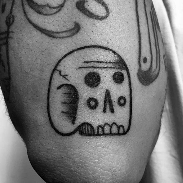 Unique Mens Small Skull Outer Forearm Tattoo