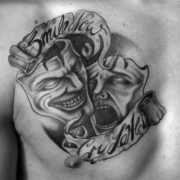 Unique Mens Smilie Now Cry Later Banner Shaded Drama Mask Upper Chest Tattoos