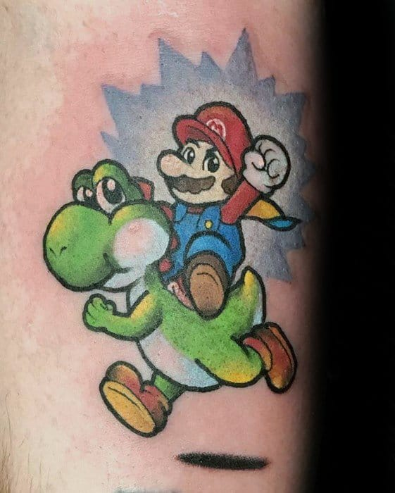 Unique Mens Super Mario Yoshi Tattoos On Back