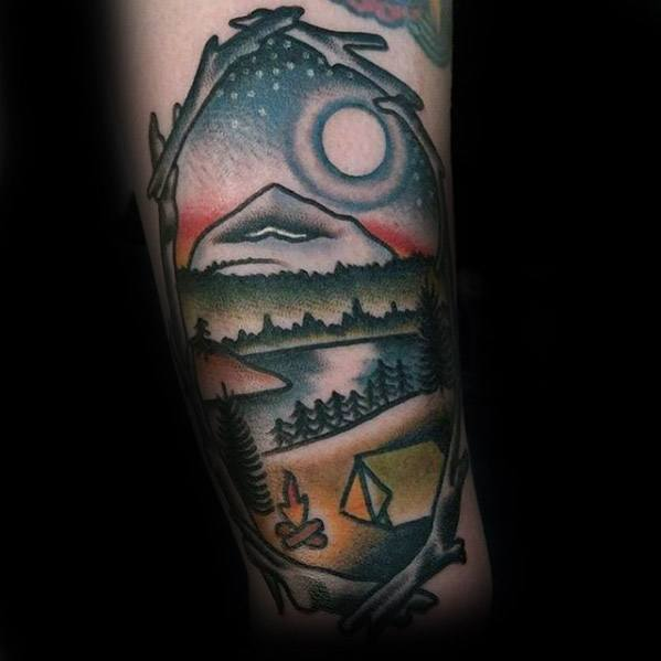 Unique Mens Tent Tattoos On Forearm