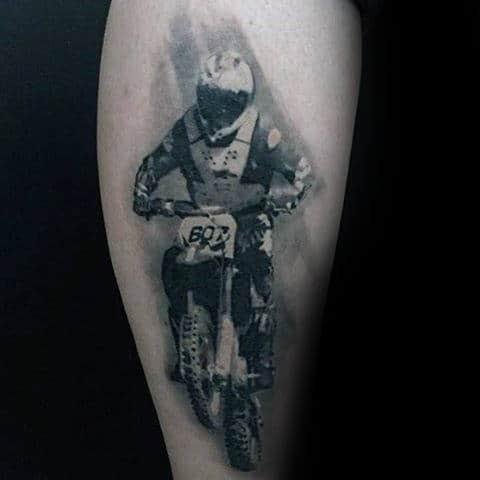Unique Mens Thigh Motocross Rider Tattoo Design Inspiration