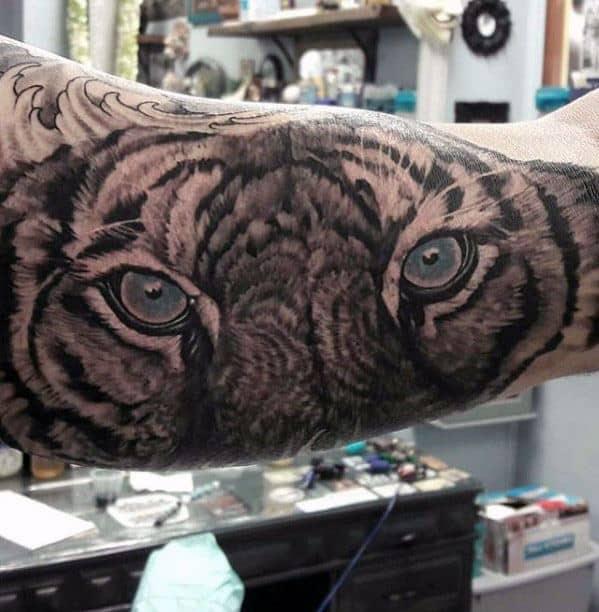 Unique Mens Tiger Eyes Tattoos