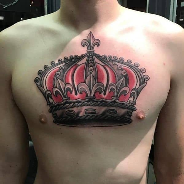 50 traditional crown tattoo designs for men old school ideas for Crown chest tattoo