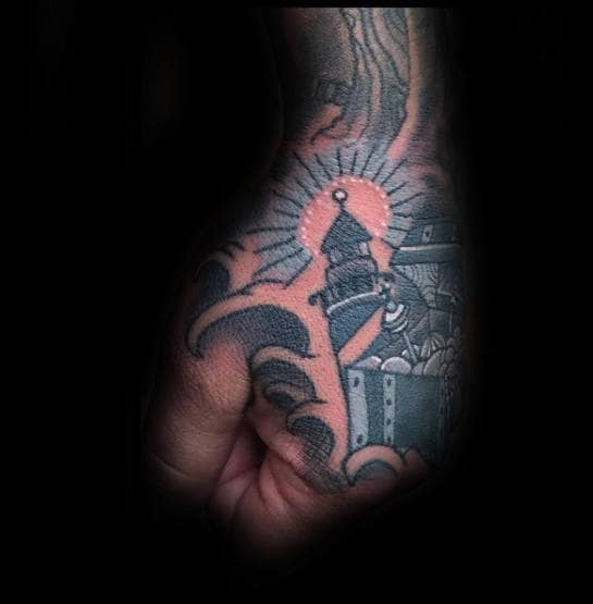 Unique Mens Treasure Chest Lighthouse Hand Tattoo With Traditional Design
