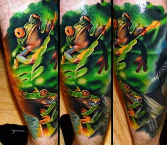 Unique Mens Tree Frog Tattoos Outer Forearm Sleeve