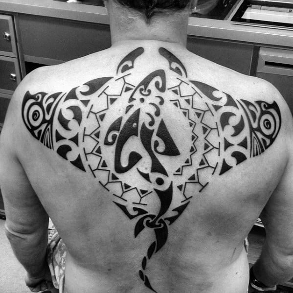 Unique Mens Tribal Hawaiian Shark Manta Ray Tattoos On Back