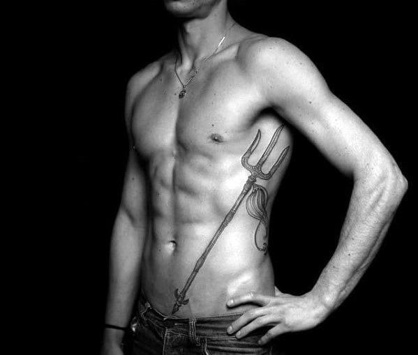 Unique Mens Trident Tattoos On Ribcage