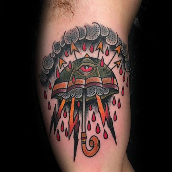 Unique Mens Umbrella Inner Arm Bicep Tattoos