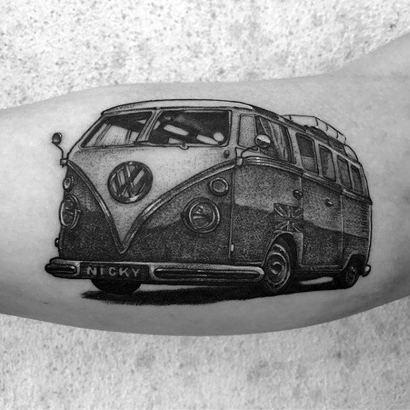 Unique Mens Volkswagen Wv Van Inner Arm Tattoos
