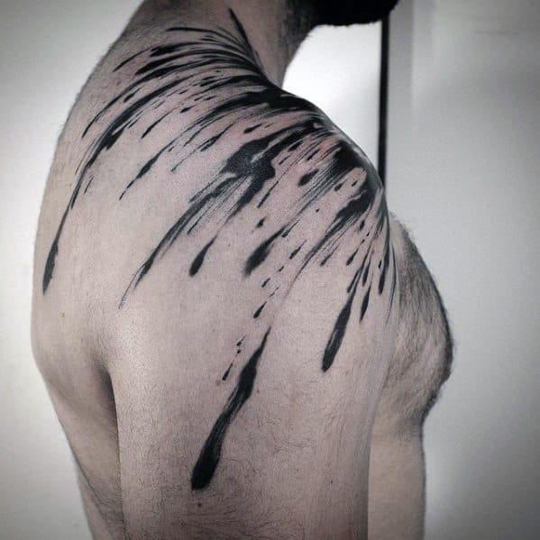 Unique Mens Water Drop Splatter Shoulder Tattoos
