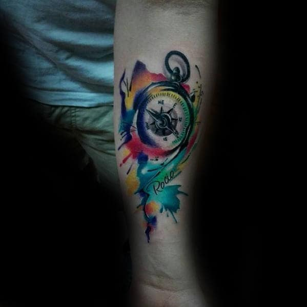 Unique Mens Watercolor Compass Inner Forearm Tattoo