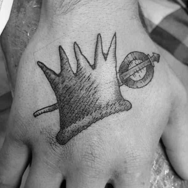 Unique Mens Where The Wild Things Are Inspired Small Crown Hand Tattoo