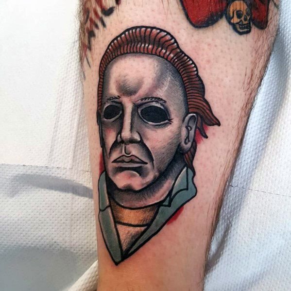 Unique Michael Myers Old School Traditional Small Tattoos For Men