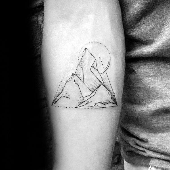 Minimal Tattoos For Men: 50 Minimalist Mountain Tattoo Ideas For Men