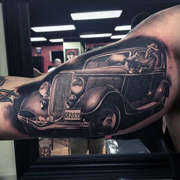 Unique Mobster Realistic Black Ink Mens Vintage Car Bicep Tattoo