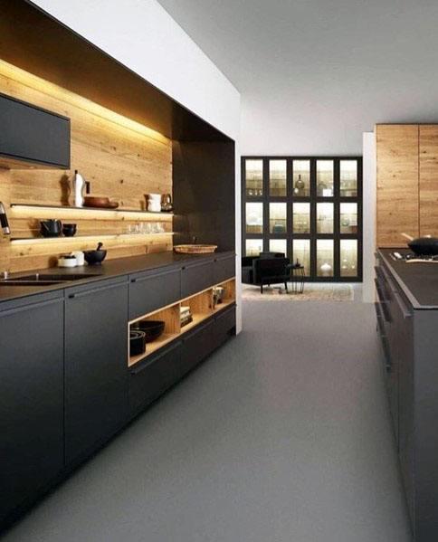 Modern Wooden Kitchen Designs: Top 60 Best Wood Backsplash Ideas