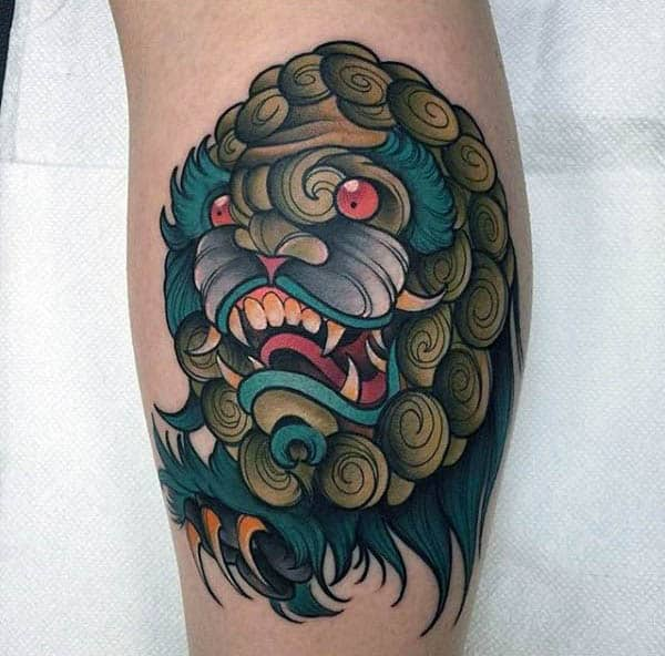 Unique Monster Neo Traditional Tattoo Mens Calves