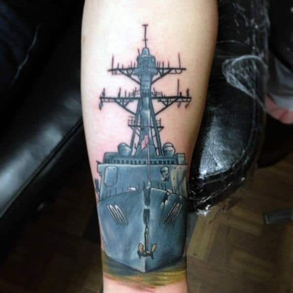 Unique Navy Ship Mens Leg Tattoo Ideas