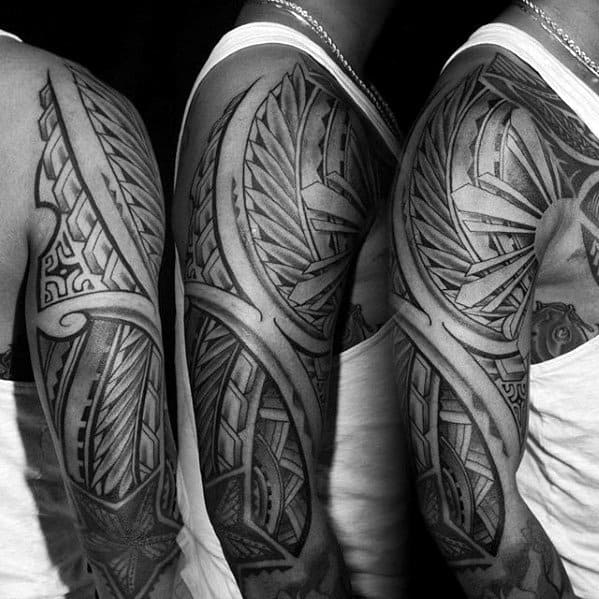 50 polynesian arm tattoo designs for men manly tribal ideas for Polynesian sun tattoo